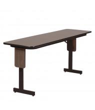 "Correll 72"" W x 18"" D x 29"" H Rectangular 0.75"" High Pressure Top Seminar Folding Table with Panel Leg (Shown in Walnut)"