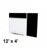 Ghent SPC412B-ATR 12 x 4 Rubber Tackboard & Porcelain Magnetic Combination Whiteboard (Shown in Black)