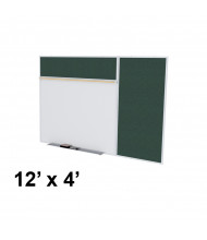 Ghent SPC412B-V Style-B 12 ft. x 4 ft. Vinyl Fabric Tackboard and Porcelain Magnetic Combination Whiteboard (Shown in Ebony)
