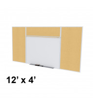 Ghent SPC412E-K Style-E 12 ft. x 4 ft. Natural Cork Tackboard and Porcelain Magnetic Combination Whiteboard