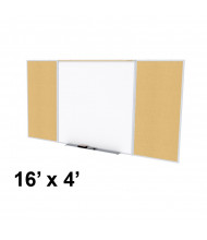 Ghent SPC416D-K Style-D 16 ft. x 4 ft. Natural Cork Tackboard and Porcelain Magnetic Combination Whiteboard