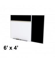 Ghent SPC46B-ATR 6 x 4 Rubber Tackboard & Porcelain Magnetic Combination Whiteboard (Shown in Black)