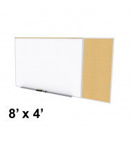 Ghent SPC48C-K Style-C 8 ft. x 4 ft. Natural Cork Tackboard and Porcelain Magnetic Combination Whiteboard