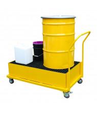 Vestil SRBC 55-Gallon Steel Drum Spill Containment Basin Carts, 43 to 66 Gal, 600 to 1200 lb Load (51 Gallon Model)