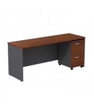 "Bush Series C SRC030 72"" W Straight Front Office Desk Credenza with Mobile Pedestal (Hansen Cherry / Graphite Grey)"