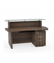 "Mayline Sterling STG33 72"" W Reception Desk with Pedestal (Shown in Brown)"