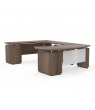 Mayline Sterling STL1 U-Shaped Bow Front Executive Office Desk, Left Return (Shown in Brown)