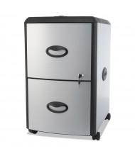 Storex 61351U01C 2-Drawer File/File Mobile Pedestal, Silver/Black