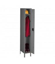 Tennsco Assembled Single Tier Steel Lockers with Legs - Shown in Medium Grey