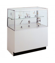 Tecno GL110 Half-Vision Jewelry Retail Display Case - Shown in white laminate with silver frame
