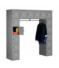 "Tennsco 16-Person Steel Box Lockers 72"" W x 18"" D without Legs - Shown in Medium Grey"