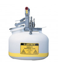 "Justrite TF12752 Polyethylene 2 Gallon Disposal Safety Can, 3/8"" Stainless Steel Fitting"