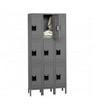 Tennsco Unassembled Triple Tier 3-Wide Metal Lockers with Legs (Shown in Medium Grey)
