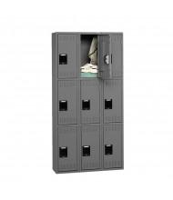 Tennsco Assembled Triple Tier 3-Wide Metal Lockers without Legs (Shown in Medium Grey)