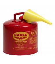 Eagle Type I 5 Gallon Galvanized Steel Metal Safety Can with Funnel (Shown in Red)