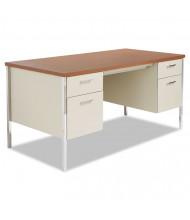 Alera 60'' W Straight Front Steel Double Pedestal Teacher Desk