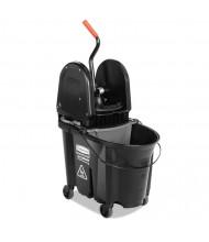 "Rubbermaid Commercial 27.375"" H x 16.125"" W Executive WaveBrake Down-Press Mop Bucket 35 qt., Black"