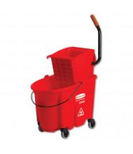 "Rubbermaid Commercial 36.5"" H x 20.1"" W WaveBrake Side-Press Wringer/Bucket 8.75 gal., Red"