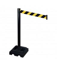 Retracta-Belt Outdoor Safety Belt Barrier Stanchion (10 ft. Model Shown in Black Aluminum with Black / Yellow Belt)