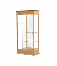 """Waddell Varsity 694K Series Display Case Oak Finish with Sliding Glass 36""""L x 77""""H x 18""""D (Shown in natural oak/mirror back)"""
