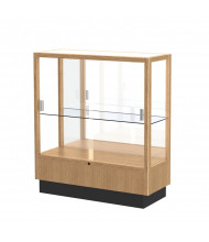 Waddell Heritage Sliding Glass Door Counter Display Case (Shown as Natural Oak / Mirror Back)