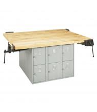 Diversified Woodcrafts Maple Top Storage Locker Workbench, 4 Vises