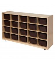 Wood Designs Childrens Classroom Cubby Storage Unit with Brown Trays (20-Cubby Unit Shown)