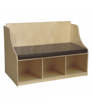 """Wood Designs 41"""" W x 29"""" H Reading Bench with Storage Shelves (Shown in Brown)"""
