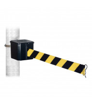 Retracta-Belt 412 Wall-Mounted Belt Barrier (Shown with Black Body/Black & Yellow Belt)