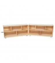 "Wood Designs Classroom Mobile 10-Space Storage, Folding, Birch, 15"" D x 96"" W"