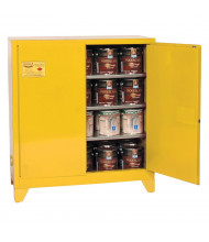 Eagle YPI-32LEGS Manual Two Door Combustibles Tower Safety Cabinet with Legs, 40 Gallons, Yellow (Example of Use)