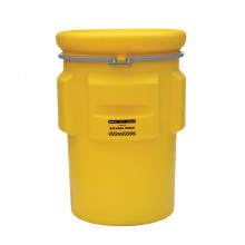 Eagle 1695 Salvage Metal Band Poly Drum with Bolt, 95 Gallons, Yellow
