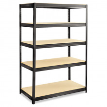 "Safco 6244BL 24"" D x 48"" W x 72"" H 5-Shelf Steel/Particleboard Boltless Shelving Unit"
