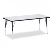 "Jonti-Craft Berries 30"" x 72"" Elementary Rectangle Classroom Activity Table (Shown in Grey / Black)"