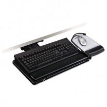 "3M 17-3/4"" Track Lever-Knob Adjustable Keyboard Tray with Platform, Black"