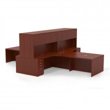 Mayline Aberdeen AT27 4-Unit Executive Office Desk Set (Shown in Cherry)