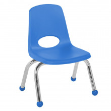 """ECR4Kids 10"""" H Plastic Classroom Stacking Chair with Chrome Legs and Ball Glides, 6-Pack (Shown in Blue)"""