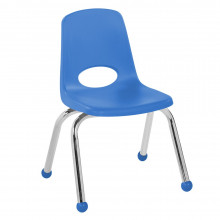 """ECR4Kids 12"""" H Plastic Classroom Stacking Chair with Chrome Legs and Ball Glides, 6-Pack (Shown in Blue)"""