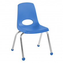 """ECR4Kids 14"""" H Plastic Classroom Stacking Chair with Chrome Legs and Ball Glides, 6-Pack (Shown in Blue)"""
