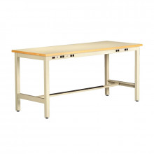 Tennsco ESD Anti-Static Top Electronics Workbenches, Fixed Legs, Power Rail (Shown in Sand)