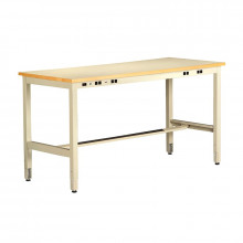 Tennsco ESD Anti-Static Top Electronics Workbenches, Adjustable Legs, Power Rail (Shown in Sand)