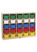 ECR4Kids Birch 25 Cubby-Tray Classroom Storage Cabinet with Bins