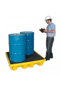"""Ultratech 1231 P4 51"""" W x 51"""" L Nestable Spill Containment 4-Drum Deck Palletwith Drain, 66 Gallons"""