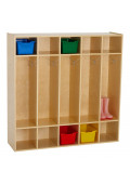 ECR4Kids Birch Streamline 5-Section Coat Locker