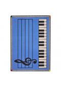 Joy Carpets Play Along Classroom Rug, Blue with Keys