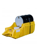 """Justrite EcoPolyBlend 32"""" W x 72"""" L Spill Containment Dispensing Dolly, 66 Gal, Yellow"""