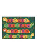 Carpets for Kids Caterpillar Friends Alphabet Rectangle Classroom Rug, Green