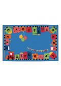 Carpets for Kids Alphabet Fun Train Rectangle Classroom Rug