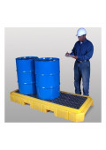 """Ultratech 9627 P3 Plus 83"""" W x 34.5"""" L Spill Containment 3-Drum Deck Pallet with Drain, 66 Gallons"""
