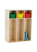 ECR4Kids Birch Streamline 3-Section Toddler Coat Locker